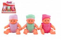 Bábätko bábika pevné telo plast 18cm - mix farieb - VÝPREDAJ