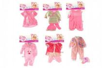 Oblečky / Šaty pre bábiky / bábätká veľkosti 20-30cm 6 druhov v sáčku 25x40cm