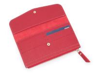 Moderná dámska peňaženka s vreckom na drobné, eko kože, červená
