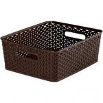 "box úložný RATTAN 35x30x13cm (M),""Y"" STYLE, plastový, HN"