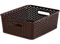 "box úložný RATTAN 35x30x13cm (M), ""Y"" STYLE, plastový, HN"