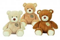 Plyšový medvedík s ozdobnou záplatou, 25cm - mix variantov či farieb
