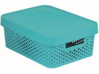 box úložný INFINITY děrovaný 36,3x27x13,8cm s víkem, plastový, MO