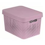 box úložný INFINITY dierovaný 36,3x27x22,2cm s vekom, plastový, Ruz