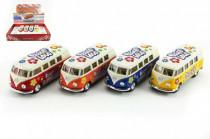 Autobus Kinsmart Volkswagen Classical kov 13cm na zpětné natažení - mix barev