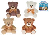 Medvídek plyšový 15 cm sedící s mašličkou - mix barev