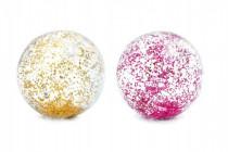 Lopta plážový glitter transparentné priemer 71cm - mix farieb