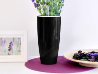 Samozavlažovací kvetináč GreenSun Liquids priemer 12 cm, výška 23 cm, čierny