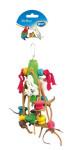 Hračka vták drevo / bavlna - kocky a koža dôvo + 23 cm