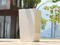 Samozavlažovací kvetináč GreenSun ICES 12x12 cm, výška 23 cm, biely