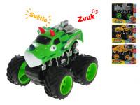 Auto zvieratko 12 cm na zotrvačník na batérie so svetlom a zvukom - mix variantov či farieb