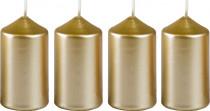 Sviečka adventné 40x75 mm - metalická biele zlato - 4 ks
