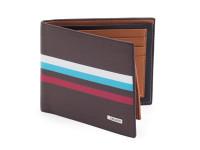 Štýlová tenká pánska peňaženka, eko kože, hnedá s kontrastnými pruhmi