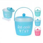 dóza na ľad s viečkom 1,8l + kliešte plastová - mix farieb