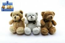 Medveď / medvedík s mašľou plyš 12cm - mix farieb