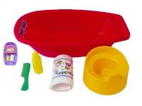 Vanička + nočník, plienka s doplnkami plast 40x9,5cm - mix farieb