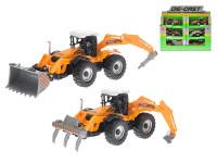 Stavební stroj 17 cm kov zpětný chod na baterie se světlem a zvukem - mix variant či barev