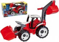 Traktor se lžící a bagrem plast červeno-bílý 65cm
