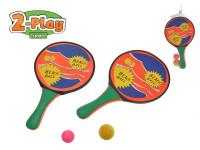 Catch ball/plážové pálky 2-Play 2 v1 2 ks 34x20 cm s míčky
