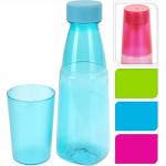 láhev na pití 700ml + kelímek 250ml plastová - mix barev