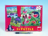 Puzzle Krtek a paraplíčko 18x18cm 3x55 dílků