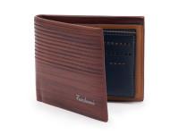 Luxusní tenká pánská peněženka s kresbou dřeva, eko kůže, světle hnědá