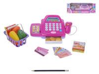 Registračná pokladňa s košíkom na batérie so svetlom a zvukom s doplnkami - mix farieb