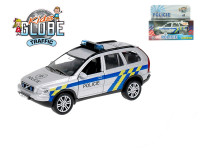 Auto Volvo policie kov 14cm na zpětné natažení na baterie 3xLR41se zvukem se světlem