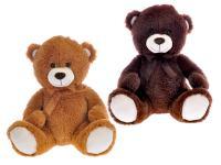 Medvěd plyšový 40 cm sedící s mašlí - mix barev - VÝPREDAJ