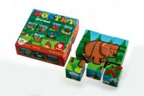 Wooden cube cubes My first animals forest wood 9pcs in a box 11x11x6cm MPZ - VÝPREDAJ