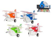 Vrtulové letadlo kov 11,5 cm zpětný chod na baterie se světlem a zvukem - mix barev