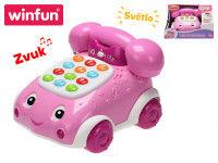 Telefonek 16 cm naučný ružový 2 funkcie na batérie so svetlom a zvukom