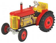 Traktor Zetor červený na kľúčik kov 14cm 1:25 v krabičke Kovap