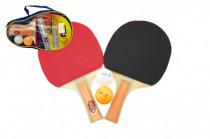 Sada stolný tenis / ping pong drevená 25cm s loptičkami v puzdre