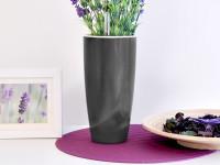Samozavlažovací kvetináč GreenSun Liquids priemer 12 cm, výška 23 cm, tmavo strieborný