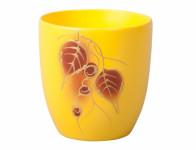 Obal na kvetináč KODET LEAVES 2 žltý matný d20x22cm