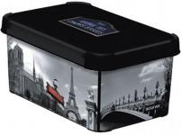 box úložný PARIS 29,5x19,5x13,5cm (S) s vekom, plastový