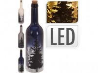 fľaša dekoratívne 10LED pr.7,3x31cm STROMY - mix farieb