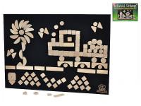 Kreativní dřevěná stavebnice - hrací stěna 70x50 cm + 125 ks kostek na suchý zip