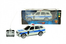 Auto RC policie plast 25cm na dálkové ovládání na baterie se světlem se