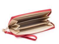 Dámska peňaženka na zips s remienkom na zápästie a zlatú mašličkou, eko kože, červená