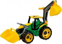 Traktor s lyžicou a bagrom zeleno žltý