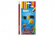 Pastelky farebné drevo Ocean World trojhranné
