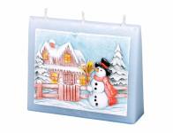 Sviečka snehuliakov OBÁLKA vonná vyrezávaná zdobená 13x11x4cm