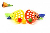 Catch ball hra 2ks + 3 loptičky plast 19cm