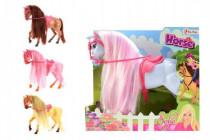 Kôň Sofia s hrivou česacia plast 26cm - mix farieb