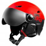 Spokey JASPER lyžiarska prilba s čelným sklom, čierno-červená, vel. L / XL