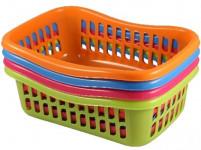košík TIN 28x20x9,5cm plastový (stredná) - mix farieb