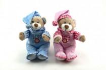 Medvedík s čiapkou hrkálka plyš 30cm - mix farieb