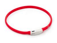 LED svítící vodotěsný silikonový obojek s USB nabíjením červený, Domestico